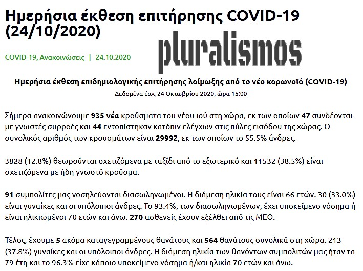 τα νεότερα του κορωναϊού #covid19greece